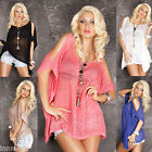 780 SEXY CLUBBING LINEN TUNIC OPEN SLEEVE LONG TOP CORAL SHIRT SIZE L/XL
