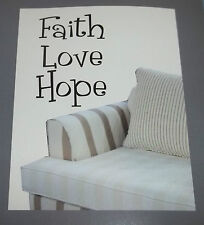 """""""Faith Love Hope REUSABLE WALL DECALS STICKERS LETTERING #157"""