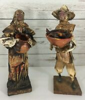 Vintage Mexican Paper Mache Folk Art Figurines 2 Old People Farming Couple 11""