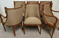 Set of 6 HARRIS MARCUS French Empire Hand Carved Swans Barrel Dining Chairs