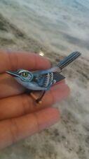 Stunning vintage Takahashi paint wood blue bird pin brooch