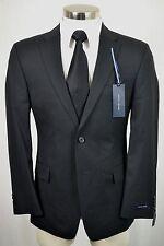 (38S) Tommy Hilfiger Men's Black Stripe TRIM FIT Flat Front 2 Piece Suit (36x31)