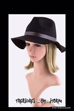 Black Felt Panama Ladies Hat w/ Brown Leather Band