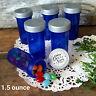 12 NEW Blue Pill Bottle Candy Favor Party Jars Silver Caps  Hanukkah School  USA