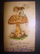 antique postcard postkarte 1905 embossed painting new year greetings germany