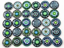 20mm Mixed Handmade Glass Cabochons | Blue & Green Mandala Designs | 10pcs