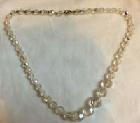 VINTAGE Graduated Faceted Clear Crystal Aurora Borealis Necklace