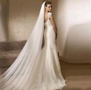 RULTA 1 T White Ivory Cathedral Length 3M Bridal Wedding Veil Cut/Plain Edge J1