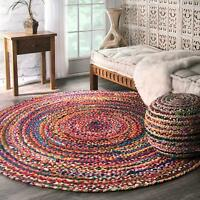 Braided Round Chindi Area Rag Rugs Floors Woven  Natural Hardwood Fabric Rug