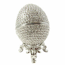 Platinum Platted Faberge Wedding Proposal Crystal Egg Trinket Box w Ring Insert