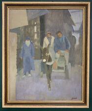 Mid Century Modernist Impressionist Oil On Board Painting, Signed