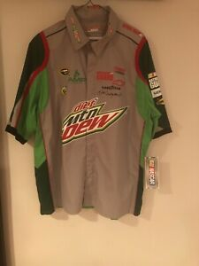 NASCAR D. Earnhardt Jr Crew Shirt Mens LG Diet Mtn Dew JH Design 88 Green Gray