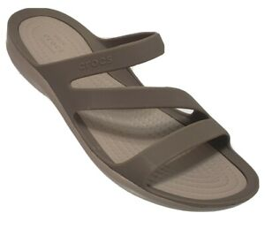 Crocs Iconic Comfort Strappy Sandal Size 8 Beige Light Brown Open Toe Slide NWOB