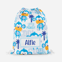 Personalised Little Monkey Boys Childrens PE Swimming School Kids Drawstring Bag