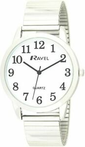 RAVEL Mens Quartz Clear Face Wrist Watch with Stainless Steel Strap NEW R0232.01