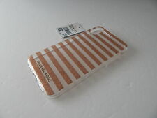 Michael Kors Snap-On Clear Case For iPhone XS/X Rose Gold Glitter/Stripes/Clea