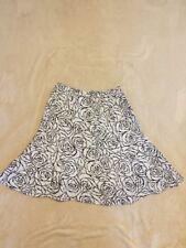 Stunning KALIKO White / Black Floral fitted Flare Skirt Sz 10 12 VGC 100% Linen