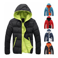 Men's Winter Hooded Thick Padded Jacket Zipper Slim Outwear Coat Warm