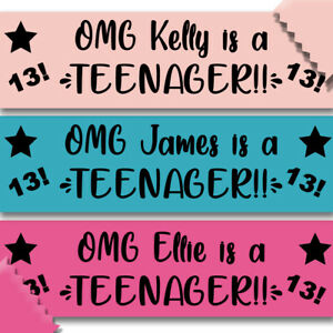 Personalised Teenager Birthday Banner OMG Wall Decoration Party Event 13th Teen