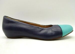 Clarks Artisan Navy Blue Teal Leather Hidden Wedge Loafers Shoes Women's 9 M