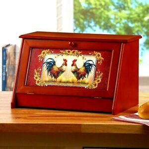 Country Rooster Wooden Bread Storage Box Farmhouse Barn Red Kitchen Home Decor
