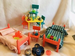 "Vintage Doll Furniture, Vogue 8"" Ginny/Ginger Doll, Table/Chairs, Twin Beds,"