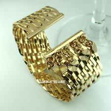 g116-New Women Weaved Style Gold  Charm Bangle Cuff Bracelet Jewelry
