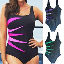 Womens Ladies Stripped Plus Size Padded Swimsuit Monokini Swimwear Bikini Bather