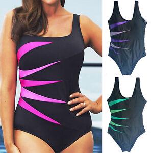 Plus Size Womens Ladies Sporty Monokini Beach Swimming Costume Backless Swimwear