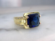 Antique Style men's 14k Yellow Gold Plated 3.5Ct Carborundum Sapphire Ring