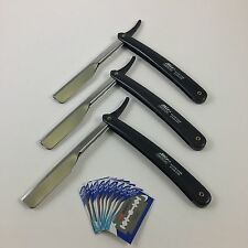Stainless Steel Professional Straight Edge Barber Razor Set of 3 with 10 Blades