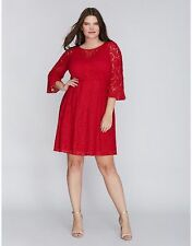 baf73dc4b9 NEW SOLDOUT LANE BRYANT lace shift dress with bell sleeve 20w in cherry red