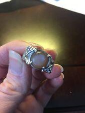 Goth/Rocker Snake Settling Genuine Sunstone Ring Size 8 925 Sterling Silver