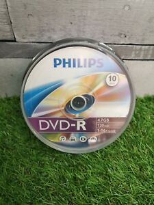 10 x Philips DVD-R Blank Recordable Discs 4.7GB 120 Mins 1-16x Speed Spindle New