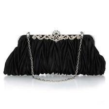 Party Wedding Evening Bag Metal Chain Handbag Crystal Clutch Bridal Satin Purses