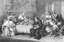 RELIGIOUS. Religious Controversy in the time of Louis XIV, antique print, 1849