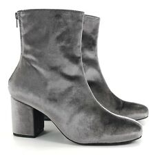 FREE PEOPLE Ankle Boots Womens 40 US 9 Cecile Block Heel Bootie Gray Velvet Shoe