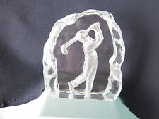 Glass Statuette Golfer Placque Silhouette Clear Glass Golf Swing Paperweight New