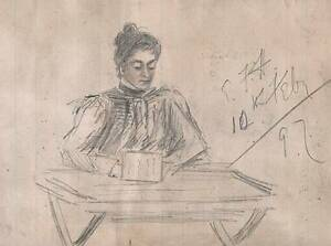 LADY WRITING Victorian Drawing 1897 IMPRESSIONIST