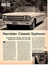 1965 RAMBLER CLASSIC TYPHOON 232/145 HP ~ ORIGINAL 3-PG ROAD TEST / ARTICLE / AD