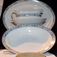 ANTG 1920s ALRED MEAKIN ENGLAND SET 3 SERVING pcs OVAL BOWLS GRAVY BOAT GOLD