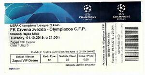 2019, CRVENA ZVEZDA v OLYMPIACOS ! VIP ticket, unused! Champions League.