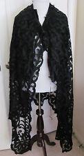Womens Black Sheer Lace Long Antique Victorian Cape or Skirt Dress E1900 L1800