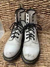 Dr Martens White Leather Boots AirWair Soles Womens 7 Scuffed