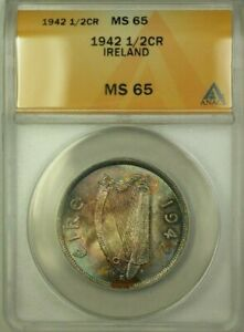 1942 Ireland 1/2 Cor�in Crown Coin ANACS MS-65 Toned