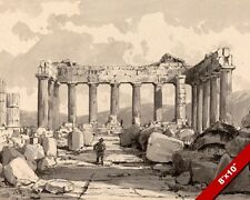 INSIDE THE PARTHENON ANCIENT GREEK TEMPLE RUINS PAINTING ART REAL CANVAS PRINT