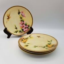 """ANTIQUE RS Germany, Set of 4 - 6"""" plates, Yellow w/Floral Design and Gold Trim"""