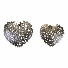 Set of 2 Silver Metal Heart Shaped Wall Decorations, Butterfly Design