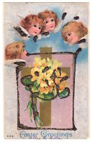 Easter Greetings Angels c1910 bouquet of flowers, vintage embossed glitter pc