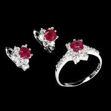 Round Red Ruby 5mm White Cz 14K White Gold Plate 925 Sterling Silver Sets